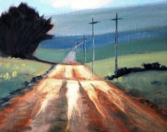 Western Landscape Oil Painting, Palouse Region, 8x8 Canvas, Original Rural Scene, Country Road, Tree, Green Brown, Wall Decor