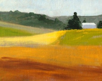 Landscape Oil Painting, Small 5x7, Original Canvas, Country Barn, Yellow Fields, Brown Green, Summer Scene, Wall Decor, Rural Art, Trees