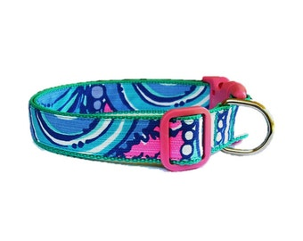 2015 Sea Jewels Dog Collar Made from Lilly Pulitzer Fabric on Teal Size: Your Choice