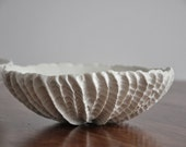 DISCOUNTED - Crackle Large Scallop Bowl - Handmade White Porcelain Bowl
