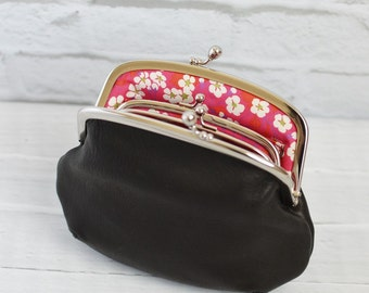 Mother and Daughter Black Leather Frame Purse with Liberty of London Lining Made to Order