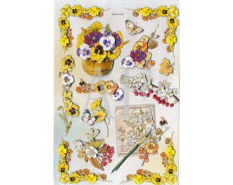 SS-045 Stickers for Scrapbooking & Card Making - Glittered 3D Dimensional, Pansy Pansies, Butterfly, Red Berries, Primroses, Seed Packet