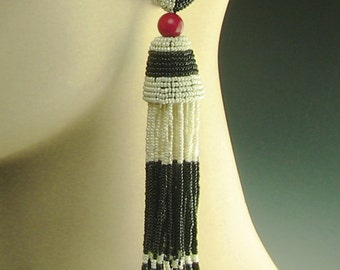 Art Deco tassels, black and white tassel earrings, beaded tassel earrings, black white and red, tassel earrings, beaded tassels,