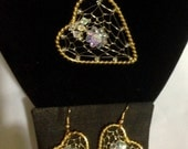 Floral Woven heart pendant and earring set