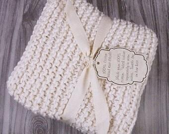 Hand Knitted Dishcloths, Cotton Washcloths, Dish Cloths, Wash Cloths, Handmade towels, Dish Rags,  - Natural