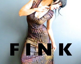 Take Your Time - iheartfink Handmade Maxi Dress, Hand Printed Wearable Art Gown, Alternative Wedding Dress, Modern Fairytale Goddess Dress