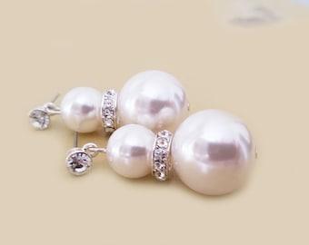 Large Pearl Earrings, Wedding Pearl Earrings, Big Pearl Earrings, Huge Pearl Earrings, Bridal Earrings Wedding Jewelry