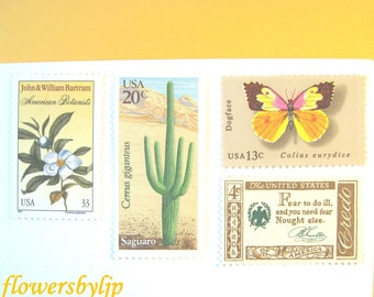 Desert Wedding Postage Stamps 2017 rate, Butterfly Cactus Flower Stamps, Mail 20 Southwestern Invitations 2 oz 70 cent golden postage unused