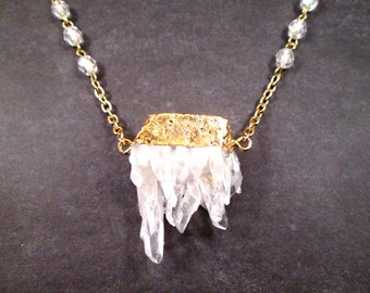 Gemstone Necklace, Quartz Druzy Pendant, White and Gold Beaded Chain Necklace, FREE Shipping U.S.