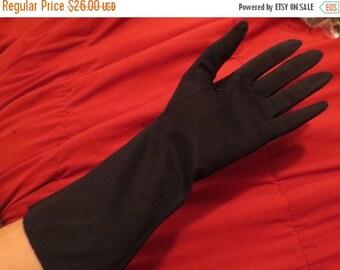 ON SALE Vintage 1950's Black Cotton Gloves Grandoe 7 1/2 Pin-Up Gothic