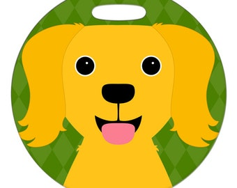 Luggage Tag - Golden Retriever - Round Plastic Bag Tag