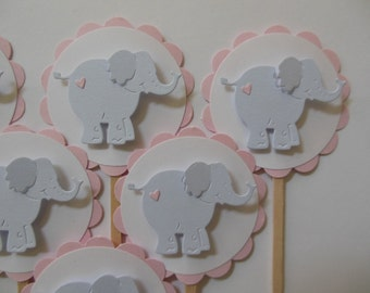 Elephant Cupcake Toppers - Pink and Gray - Girl Birthday Party Decorations - Girl Baby Shower Decorations - Set of 6