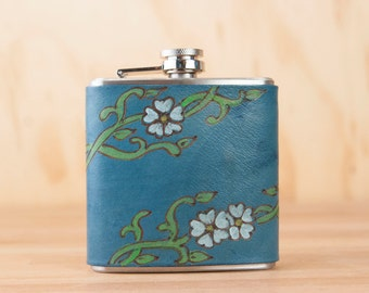 Leather Flask - Handmade Hip Flask in the Willow pattern with flowers and vines in blue - 6oz Size - Bridesmaid Flask - Wedding Flask