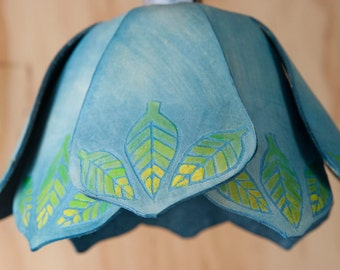 Pendant Light - Leather Lamp in the Adam Pattern - leaves in blue and green