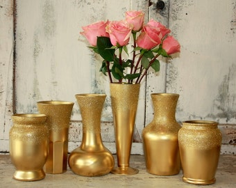 Gold vases, wedding decor,  Set of 6 textured gold dipped vintage bouquet vases, painted vase collection, ombre glitter vase, centerpieces
