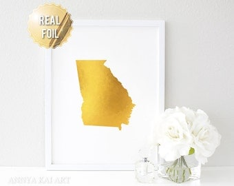 Georgia State Map Print // Real Gold Foil // CUSTOM BACKGROUND // Home Town State Map Print, Bedroom Wall Art, Poster - Georgia Wall Art