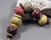 Handmade Lampwork Beads by Monaslampwork - Fall Organics - Lampwork Glass Beads by Mona Sullivan Reactive Designs Organic Tribal Boho Gypsy