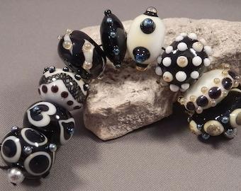 Handmade Lampwork Beads by Monaslampwork -  Classic Black and White - Lampwork Glass Beads by Mona Sullivan Organic Tribal Boho Retro Gypsy