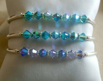 "Handmade with Swarovski Crystal Tanzanite, Lilac  2xAB Sterling Silver  Btacelet 6 3/4""-7 1/2"" Fit"