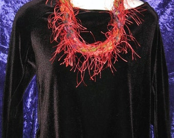 Brilliant Red Feathery Multi Yarn Necklace