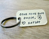 Personalized Come Home Safe Keychain, Come Home Safe Daddy or Mommy, Police Badge Keychain, Police Keychain, Father's Day gift, Be Safe Dad