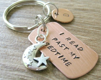 I Read Past My Bedtime Keychain with book and moon charm, avid reader gift, reading keychain, e-reader obsessed, optional initial disc