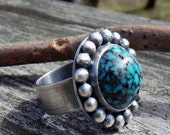40% OFF was 178.00 Spider web turquoise sterling silver statement ring