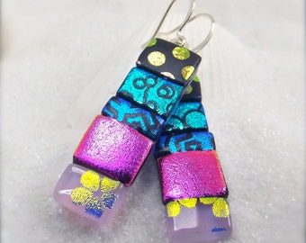 Dichroic cabochons, Dichroic Earrings,earrings,jewelry,dichroic,fused glass,glass earrings,statement earrings, artistic jewelry, jewel toned