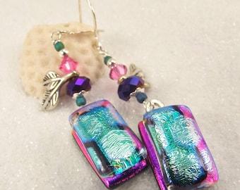 Dichroic glass jewelry, Hana Sakura Designs, Fused glass earrings, Dichroic earrings, Trending dichroic jewelry, handmade, glass fusion