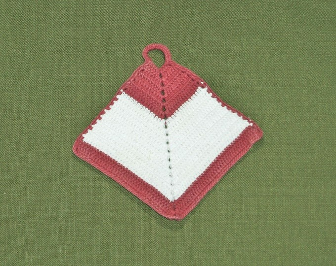 Vintage Rust Red and White Potholder Hot Pad