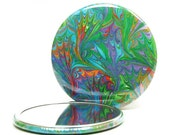 Marbled Pocket Mirror 9, Rainbow Leaf Pattern, Marbled Paper Mirror, Small Glass Mirror, Stocking Stuffer