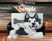 Black and White Siberian Husky dog Business Card Holder / Iphone / Cell phone / Post it Notes OOAK sculpture by Sally's Bits of Clay