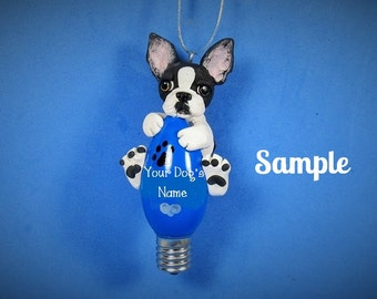 Black and White Boston Terrier Dog OOAK Christmas Light Bulb Ornament Sally's Bits of Clay Personalized FREE with your dog's name