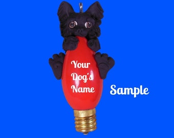 Black long haired Chihuahua Dog Christmas Holidays Light Bulb Ornament Sally's Bits of Clay OOAK PERSONALIZED FREE with dog's name