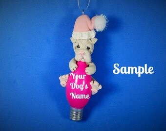 Lilac / light grey Chinese Shar Pei dog Christmas Holidays Light Bulb Ornament Sally's Bits of Clay PERSONALIZED FREE with dog's name
