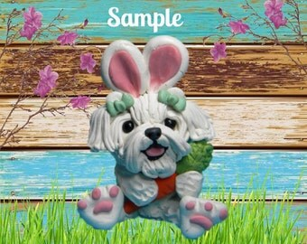 Maltese Easter Bunny dog with Carrot OOAK Clay art by Sally's Bits of Clay