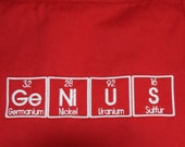 "Red Apron GeNiUS Periodic Table BBQ Apron Embroidery 34"" Ready to Ship"