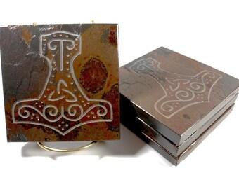 Slate Stone Coasters: MJOLLNIR Thor's Hammer - Handmade Carved Coaster Set of 4 - Natural Drink Coasters, Norse Asatru