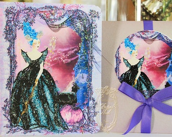 Marie Antoinette Halloween Maleficent Card Set 6 with Lavender Metallic Envelopes and Round Seals
