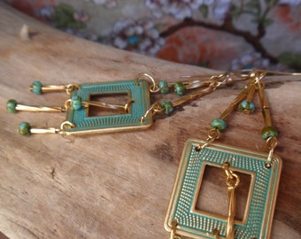 Chandelier Dangle Earrings With Gold Filled Ear Wires, Blue Aqua Patine~