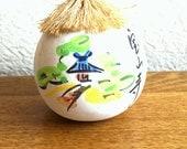 Japanese Ceramic Bell - Dorei - Suzu - Amulet - Lucky Charm - Vintage Bell - Hozanji Temple in Nara - Migawari Omamori (B2)