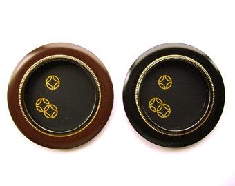 Vintage Japanese Door Pulls - Sliding Door Pulls - Traditional Japanese Design Black Brown Gold Set C27
