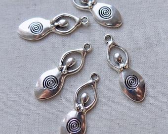 5 Silver tone Fertility Spiral Goddess Charms Pendants 39mm