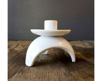 1950s Modern Pillar Style Candle Holder - Made in Japan - White Porcelain Candle Holder