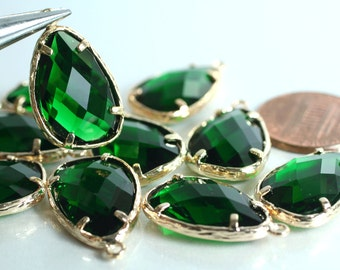 Promotion SALE 25% off Framed emerald green glass drop charm connector, earring componenet, necklace pendant, 2 pcs (item ID G56N11GP)