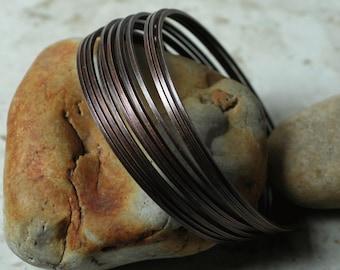 Stacking Bangle, Stackable Bangle, Antique Copper Bangle, Bangle Set, Bangle Blanks, 2 pcs (item ID FA00105AC)