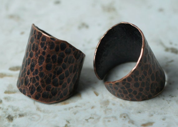 Hand hammered antique copper adjustable cuff ring, boho ring, one piece (item ID HN00015ACK)