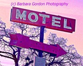 Motel - Vintage Road Sign - Hot Pink