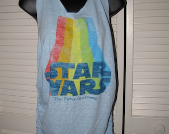 light blue rainbow classic STAR WARS The Force is Strong old school retro 70s 80s shredded backless t shirt racerback Y tank top