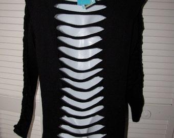 shredded backless super soft thin gray black cut sliced up crochet braided cableknit sweater sweatshirt